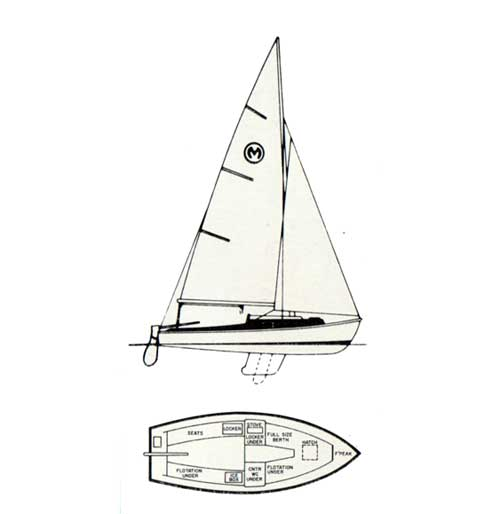 Top and Side Diagrams of the O'Day Mariner Sailboat