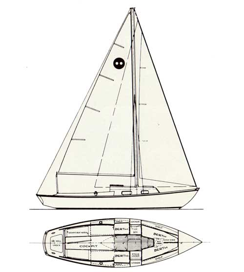 Top and Side View Diagrams of the O'Day Outlaw Sailboat
