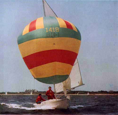 The O'Day Rhodes 19 Sailboat with full sails
