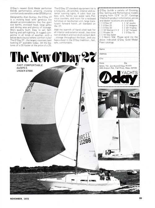 The New O'Day 27 - Fast, Comfortable, Sleeps 5 and under $7,000 - 1972 Print Advertisement.