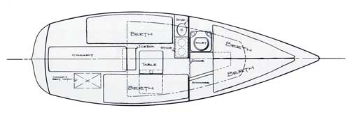 Deck Plan of the O'Day 22 Top View - 1973 Catalog