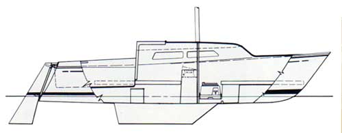 Deck Plan of the O'Day 22 Sailboat - Side View - 1973 Catalog