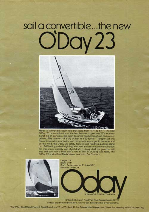 Sail A Convertible - The New O'Day 23 - 1973 Advertisement