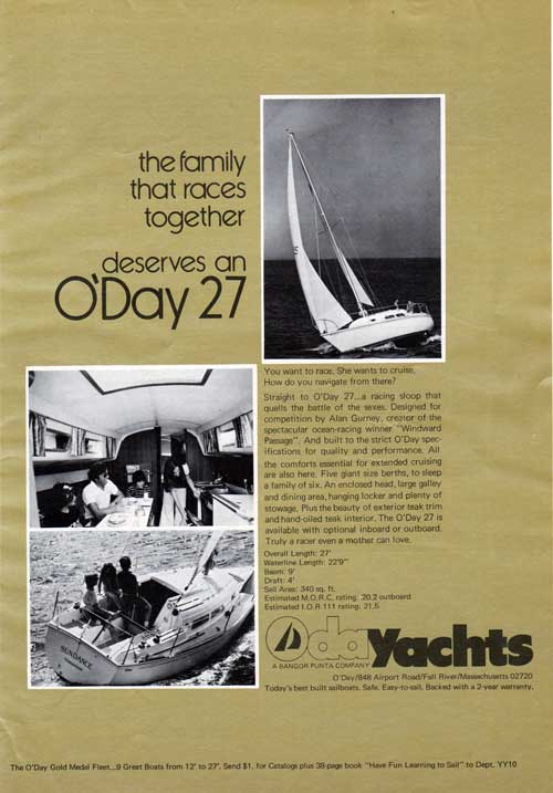 The Family That Races Together Deserves an O'Day 27 - 1973 Advertisement