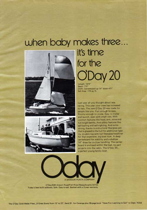 When Baby Makes Three ... The O'Day 20 - 1973 Advertisement