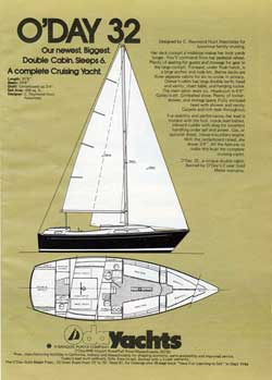O'Day 32 Yacht - Newest, Biggest Double Cabin. 1974 Print Advertisement.