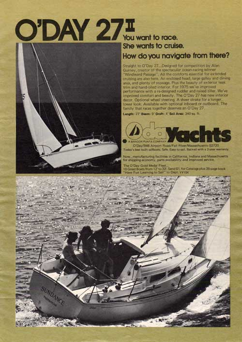 O'Day 27 II - To Race or To Cruise - 1975 Print Advertisement.