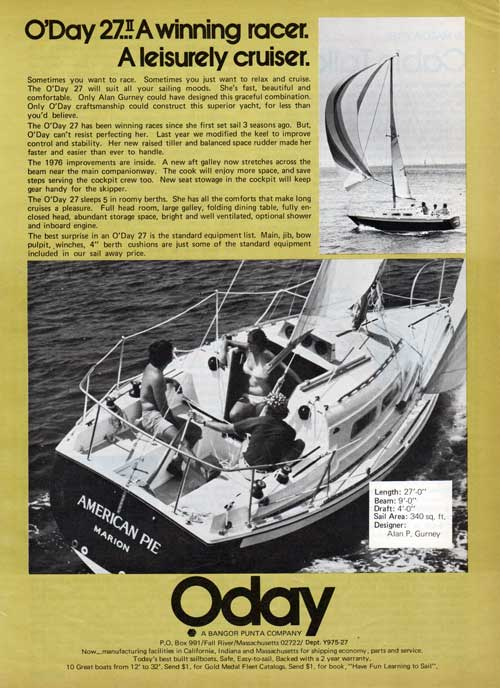 The O'Day 27 II: Winning Racer, Leisure Cruiser - 1976 Print Advertisement