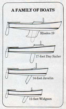 A Family of Boats: Rhodes 19; 17-foot Day Sailer; 14-Foot Javelin; and a 12-foot Widgeon