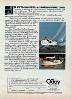 The New Tri-Cabin O'Day 37. A Maximum Offshore Family Cruiser. 1978 Print Advertisement.