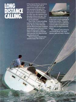 Long Distance Calling. The O'Day 37 Yacht - 1979 Print Advertisement.