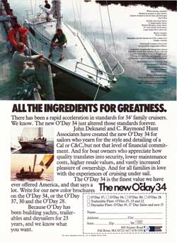 The New O'Day 34 - All the Ingredients for Greatness. 1981 Print Advertisement.