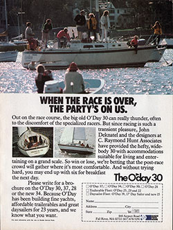 The O'Day 30: When the Race is Over. 1981 Print Advertisement.