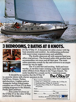 The O'Day 37 - 3 Bedrooms, 2 Baths at 8 Knots. 1982 Print Advertisement
