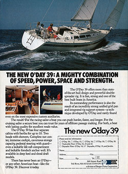 The New O'Day 39 Sailboat - 1983 Advertisement