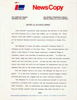 Piper Aircraft Press Release from 1980 Announcing Cheyenne II Deliveries Underway