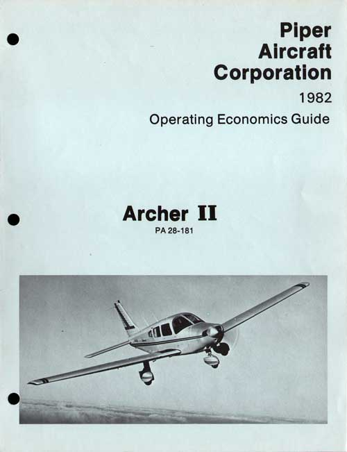 1982 Archer II Operating Economics Guide - Piper Aircraft Corporation