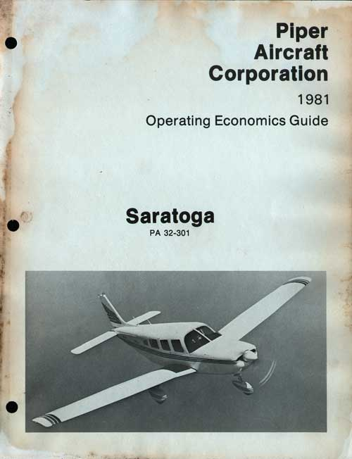 1981 Saratoga Operating Economics Guide - Piper Aircraft Corporation