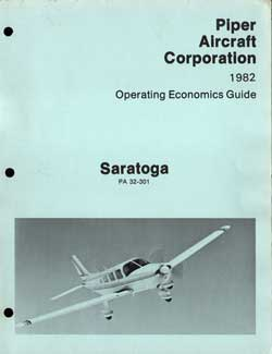 1982 Saratoga Operating Economics Guide - Piper Aircraft Corporation