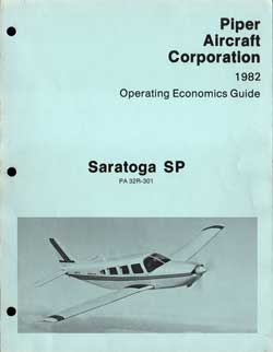 1982 Saratoga SP Operating Economics Guide - Piper Aircraft Corporation