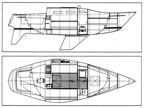 1978 Ranger 28 Yacht Schematic Drawings - Top and Side Views.