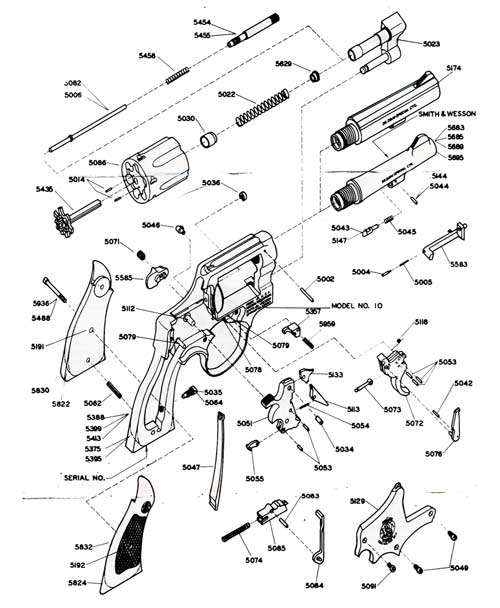 Schematic of Smith & Wesson Model 10 38 Calibur Military & Police Revolver