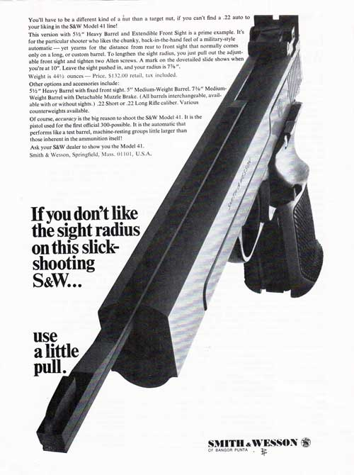 Smith & Wesson Model 41 Semi-Automatic Handgun - 1968 Print Advertisement.