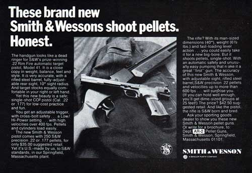 These brand new Smith & Wessons shoot pellets.  Honest. - 1971 Half-Page Print Advertisement.