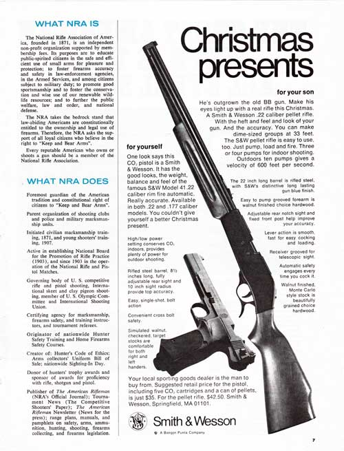 Christmas Presents from Smith & Wesson for you and your son. 1973 Print Advertisement