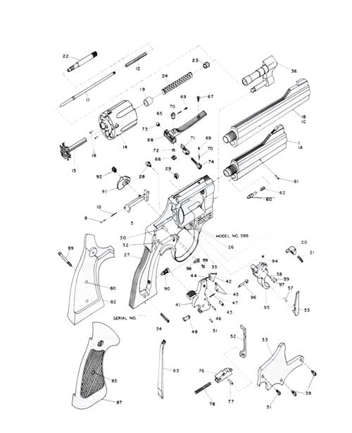 Schematic of .357 Combat Magnum Revolver Model 586 Smith & Wesson