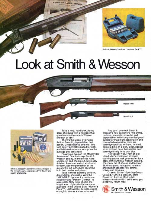 Look at Smith & Wesson - Models 1000 & 916 - 1974 Print Advertisement