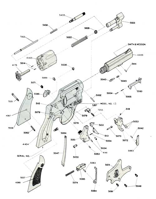 S&W .357 Military & Police Revolver Model 13 | Bangor Punta ... Handgun Schematic Diagram on
