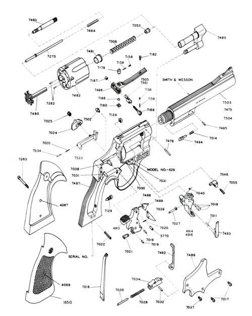 Schematic of S&W .44 Magnum Model No. 629 from Brochure circa 1975