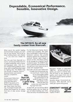 1982 The SF261V. An All New Family Cruiser from Starcraft.