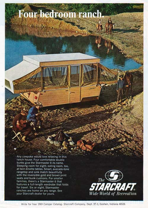 The Starmaster 8 Camper Trailer from Starcraft. 1969 Print Advertisement