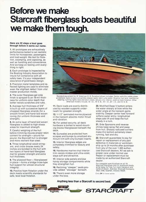 Before We Make Starcraft Fiberglass Boats Beatiful - 1972 Print Advertisement