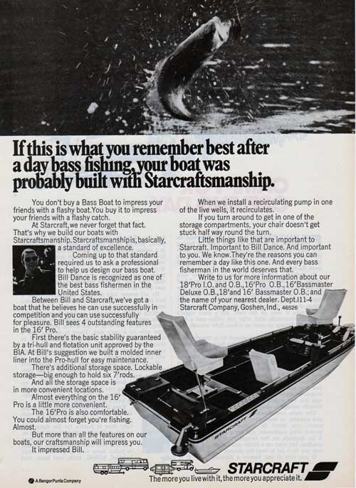 Starcraft Bass Boat 16' Pro for Bass Fishermen Everywhere. 1973 Print Advertisement.