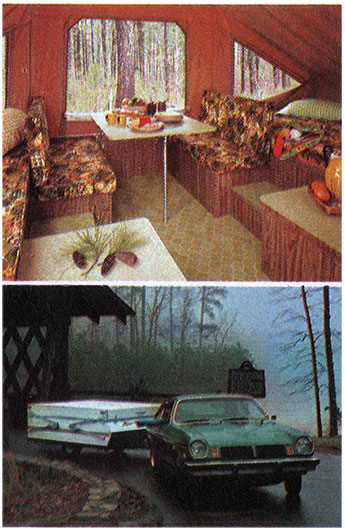 Top: View of Interior of Camper; Bottom: Small Car Towing a Starcraft Camper.