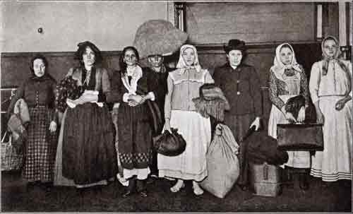 Typical Immigrants at the Immigration Station at Ellis Island, New York