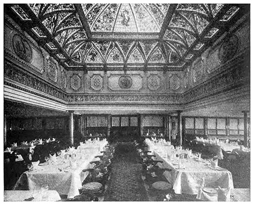 Early 1900s Dining Saloon in a White Star Line steamship.