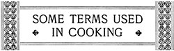 Food Definitions - Vintage Cooking Terms
