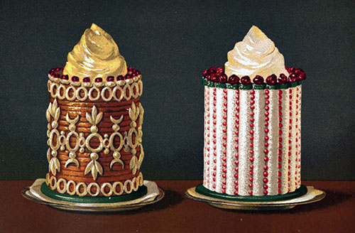Neapolitan Timbale Filled with Ice Cream; and Almond Paste Timbale Filled with Iced Plombiere
