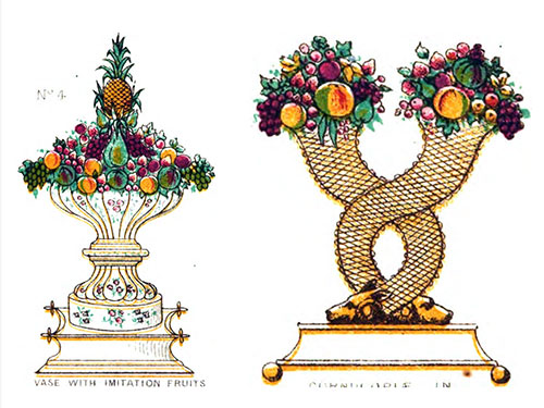 P. 279 (TREAFC) - Vase with Imitation Fruits; Caramel Sugar Vase