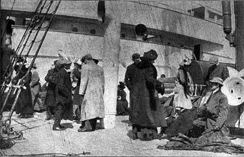 Group of Titanic Survivors on the Deck of the RMS Carpathia