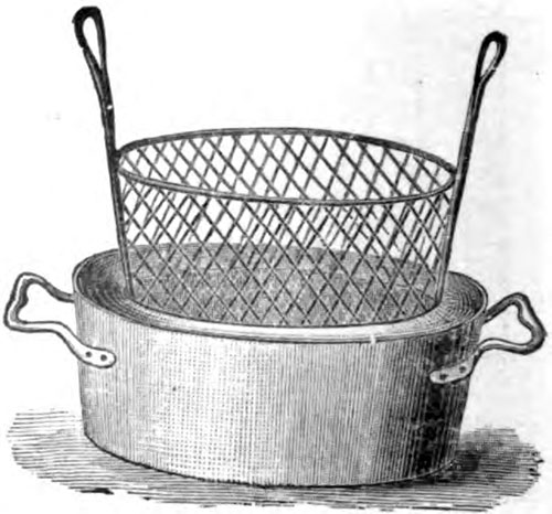 Wrought Iron Pan with Interior Frying Basket - 1916