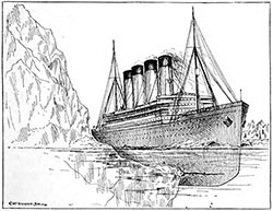 The Titanic struck a glancing blow against an under-water shelf of the iceberg, opening up five compartments.