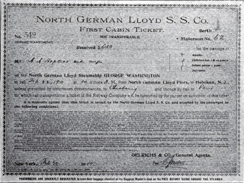 Facsimile of First Cabin Ticket