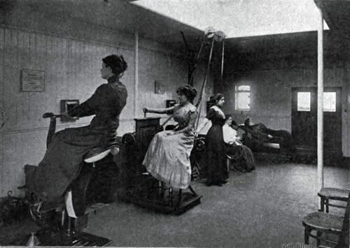 Women Exercising In Gymnasium On Board a Steamship