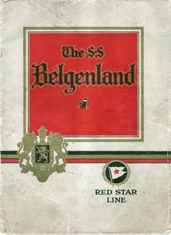 ca 1924 Brochure - The SS Belgenland - Red Star Line