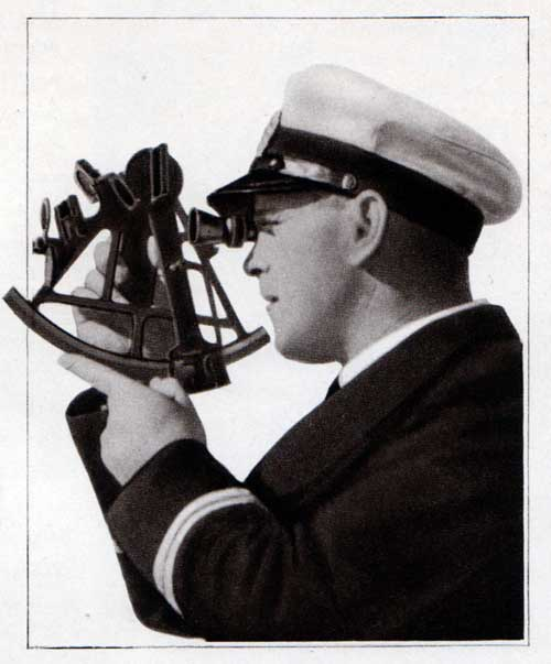 A Navigation Officer is Checking the Current Postion of the Ship